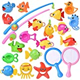 FUN LITTLE TOYS 22 PCs Bath Toys for Baby and Toddler, Fishing Game Playset with Fishing Rod and Fishing Net, Bathtub Swimming Pool Fishing Toys