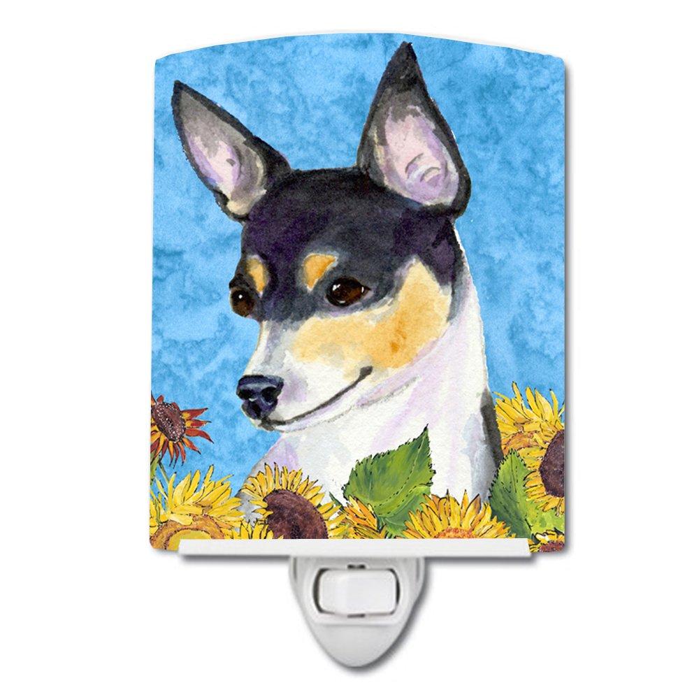 Caroline's Treasures Fox Terrier in Summer Flowers Night Light, 6'' x 4'', Multicolor