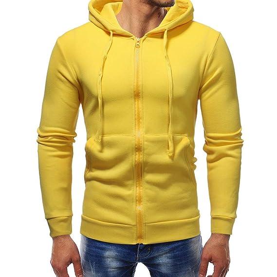 Outwear para Hombre, ♚ Absolute Abrigo con Cremallera sólida Otoño Invierno Sudadera con Capucha Casual de Manga Larga Sudadera Outwear Tops: Amazon.es: ...