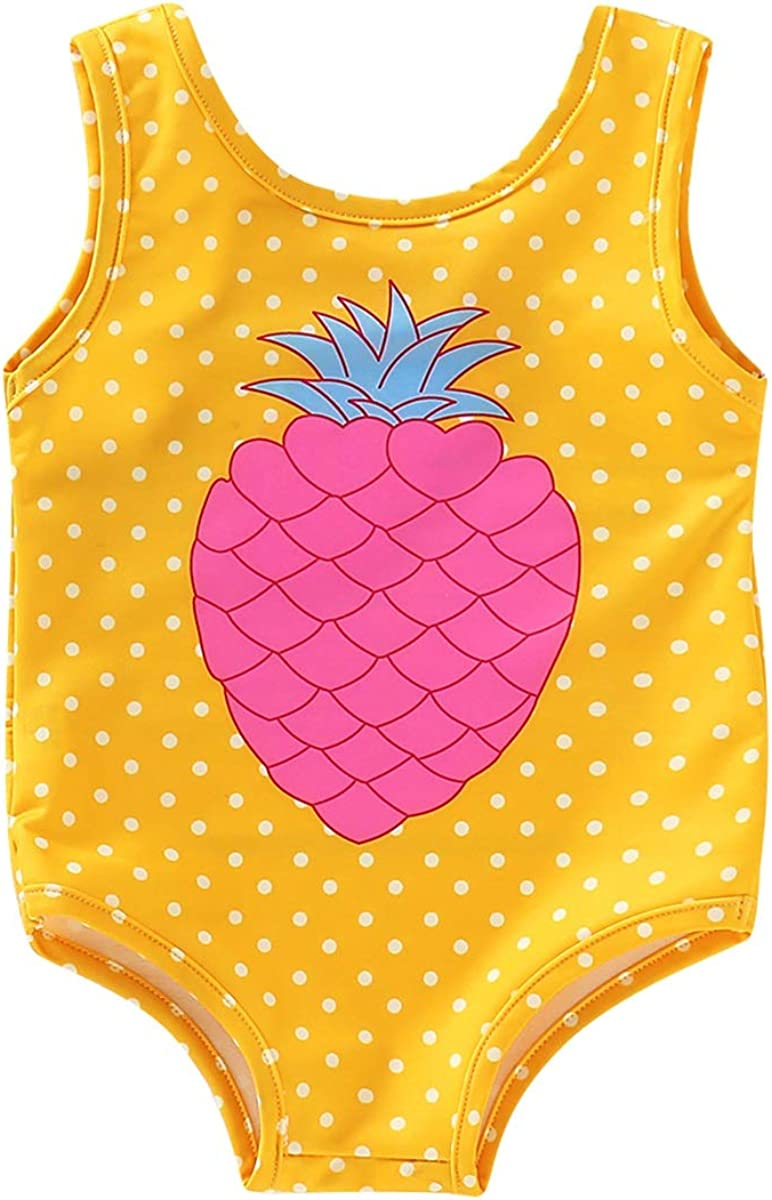 Haokaini Baby Girl One Piece Swimwear Kids Polka Dotted Pineapple Monokini Beach Swimsuit Sunsuit