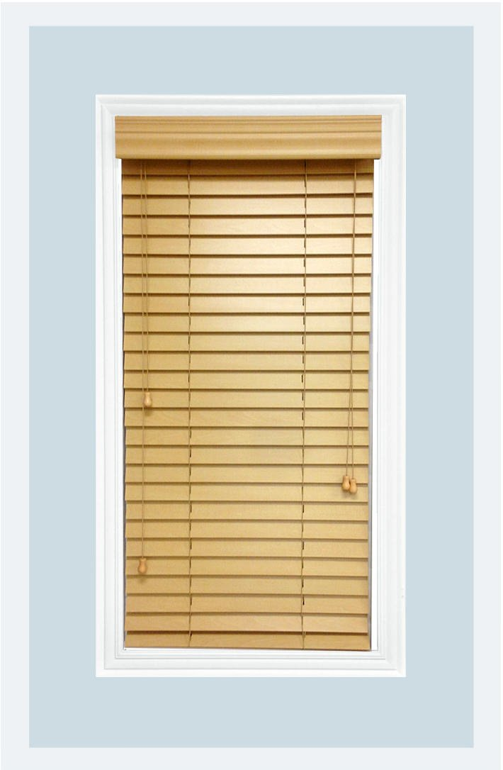 Delta Blinds Supply Custom-Made, Premium Real Wood Horizontal Window Blinds, 2 Inch Slats, Inside Mount, Natural (Pine Wood color,) Inside Window Size: 22'' W x 48'' L