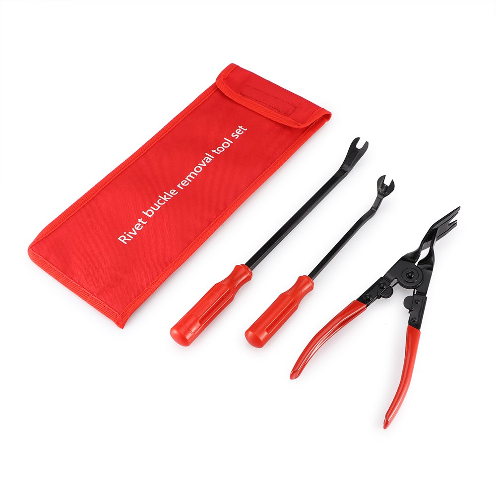 ALLOMN 3pcs Clip Plier Set Fastener Remover Auto Body Repair Tools with Storage Bag for Car Door Panel Dashboard