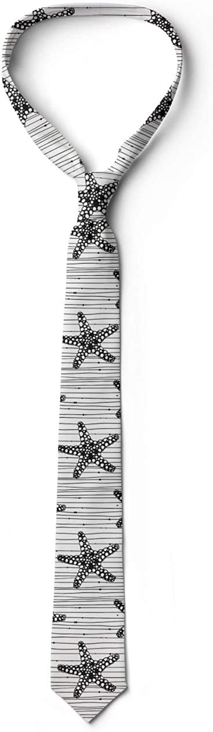 Starfish on Uneven Stripes 3.7 Charcoal Grey and White Ambesonne Necktie