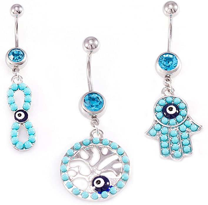 Evil Eye Belly Button Navel Ring Simple Non Dangle Belly Button Ring Spiritual Protection Jewelry Navel Piercings All Seeing Eye
