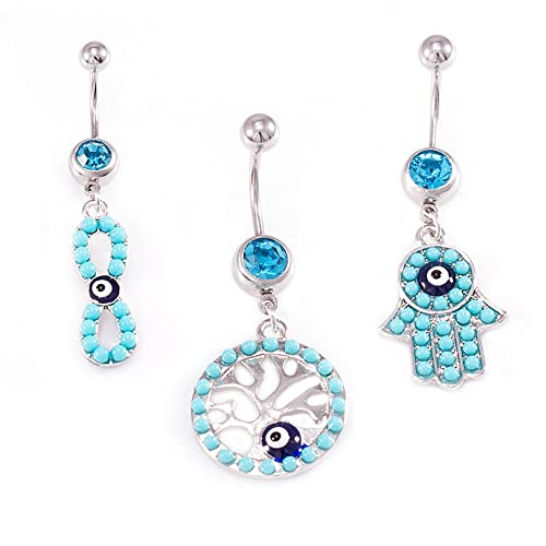 Amazon Com Bodyjewelryonline Evil Eye Belly Button Ring Package Of