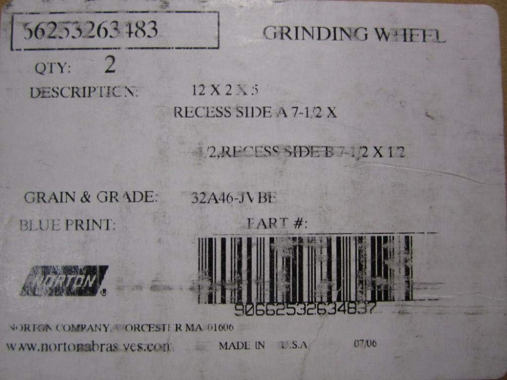 Norton 66253263483 Grinding Wheel 32A46-JVBE (Pack of 2)