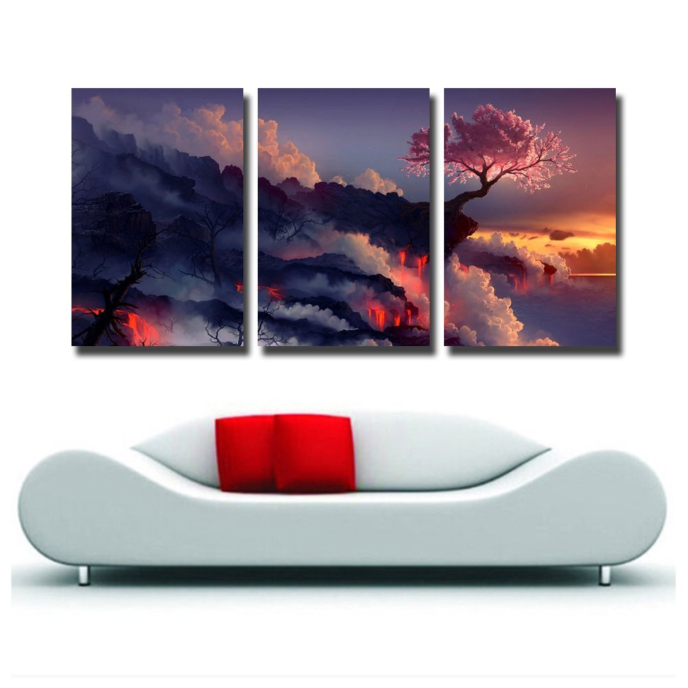 Gardenia Art Magic Cherry Tree in Volcanoes Canvas Prints Modern Wall Art Paintings Stretched and Framed Artwork for Room Decoration,16X24 inch No Model
