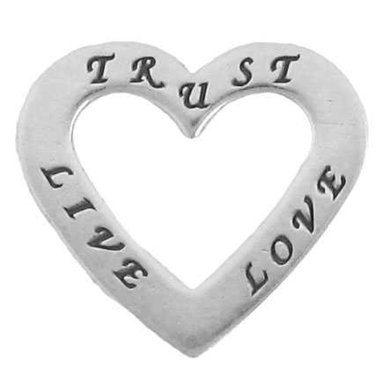 Sterling Silver 30'' Men's 1.5mm Two Sided LOVE LIVE TRUST Heart Shaped Slide Pendant Necklace