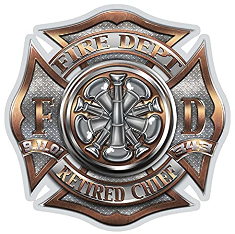 Firefighter Decals, Show Your Pride with our RETIRED Chief Patriotic Decals, Perfect for Your Kitchen, Car, Wall or Bike, Gifts for Firefighters (Fire Chief Birthday)