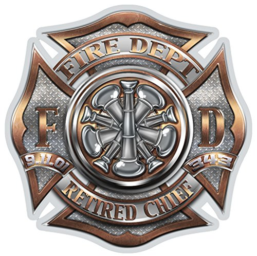Firefighter Decals, Show Your Pride with our RETIRED Chief Patriotic Decals, Perfect for Your Kitchen, Car, Wall or Bike, Gifts for Firefighters (2IN)