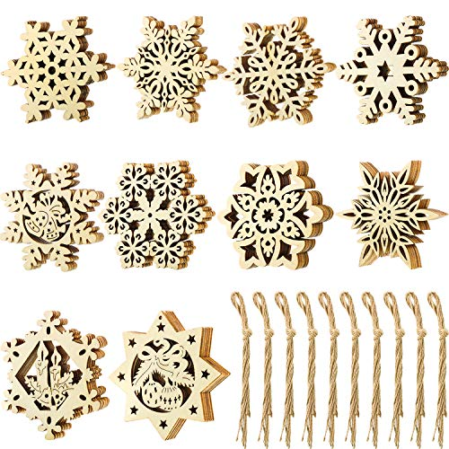 Blulu 50 Pieces Unfinished Wood Snowflake Ornaments Christmas Wooden Snowflakes Embellishments Xmas Tree Hanging Decoration with Drawstrings for Christmas and DIY Crafts