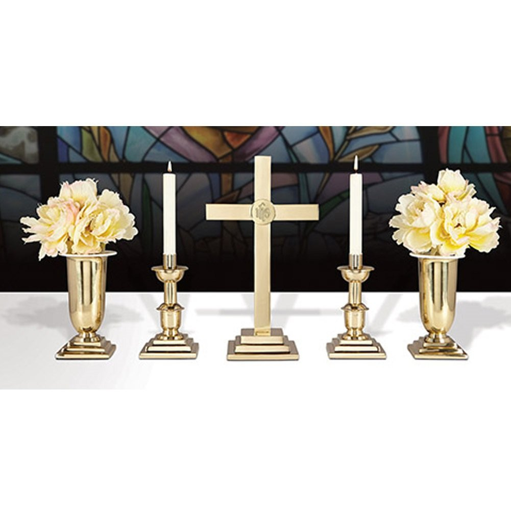 24'' Altar Set/IHS Brass Includes YC502-24, YC503-10 and YC504-11 by Christian Brands