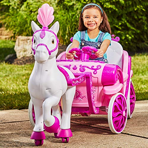(MMOYT Disney Princess Royal Horse Carriage Girls 6V Ride-On Toy Huffy)