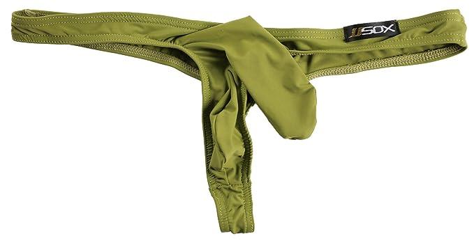 37ceb95982d0 QinMi Lover Mens Sexy Underwear Pouch Briefs Thongs Funny G-String Army  Green