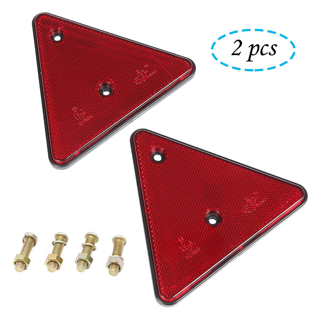 AOHEWEI Red Rear Reflectors Triangle Reflective for Gate Posts Safety Reflectors Screw on for Trailer Motorcycle Caravan Truck Boat Red