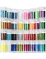 Teenitor Fine Glitter, 32 Jars 8g Each Glitter Set, 32 Assorted Color Arts and Craft glitter, Eyeshadow Makeup Nail Art Pigment Glitter, Glitter for slime