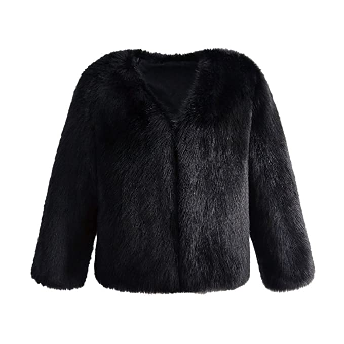 VLUNT Mujer Abrigo de Pelo Chaqueta Invierno Abrigo de Piel Sintética de Fox Chaqueta Fur COA Winter Fur Jacket (Negro)