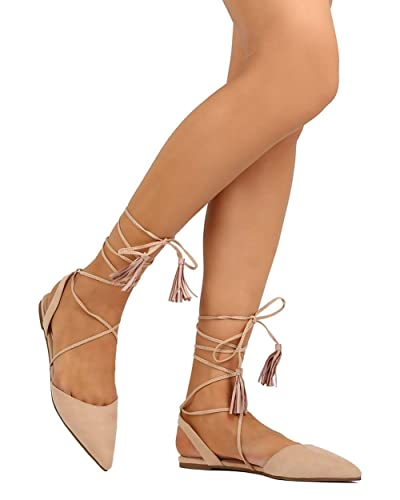 f1a8bd56bc6 Liliana EI56 Women Faux Suede Pointy Toe Slingback Gilly Tie D Orsay Flat -  Nude