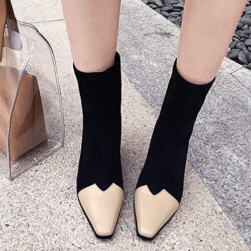 Señoras Al Femenino Interior Fecha Chicas Beige Zapatos Delgados De Tacones Cuadrada Botas Regalo Invierno Costura Otoño Aire Compras Libre Moda Punta Ropa Trabajo 6xqpnS1vw