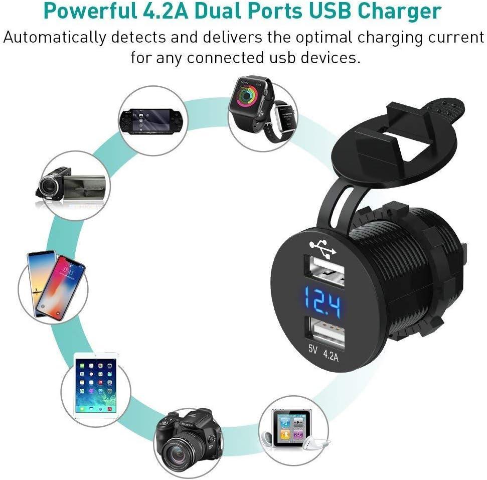 TANOU Prise Femelle de Voiture USB de 12V Chargeur de Voiture de 5V Chargeur Etanche de 4.2A de USB KFZ Double adapteur dallume-Cigare de Voiture avec Le voltmetre numerique pour Le Moto