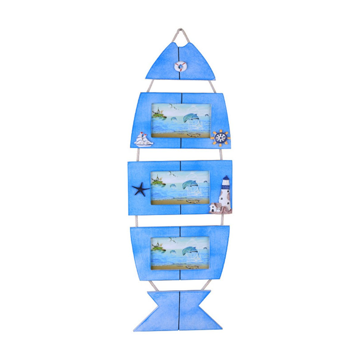 WINOMO Mediterranean Style Photo Frame Fish Shaped Wall Decor Three Photos Holder(Blue)