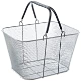Silver Metal Mesh Shop Crate with Handles - 12''L x 9''W x 7''H