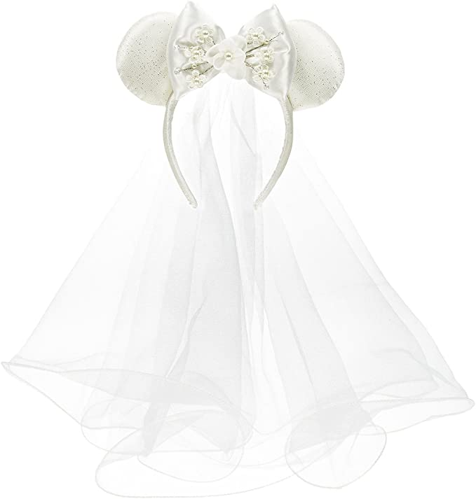 Honeymoon Ears Black /& Red White Veil Bride Minnie Ears Wedding Ears CLGIFT Bride Minnie Mouse Ears Headband Bachelorette Party Ears