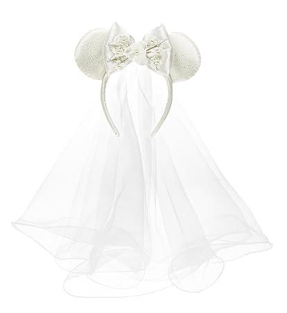 Amazon.com  Disney Parks Minnie Mouse Mickey Ears Bride Veil ... 30736511e12