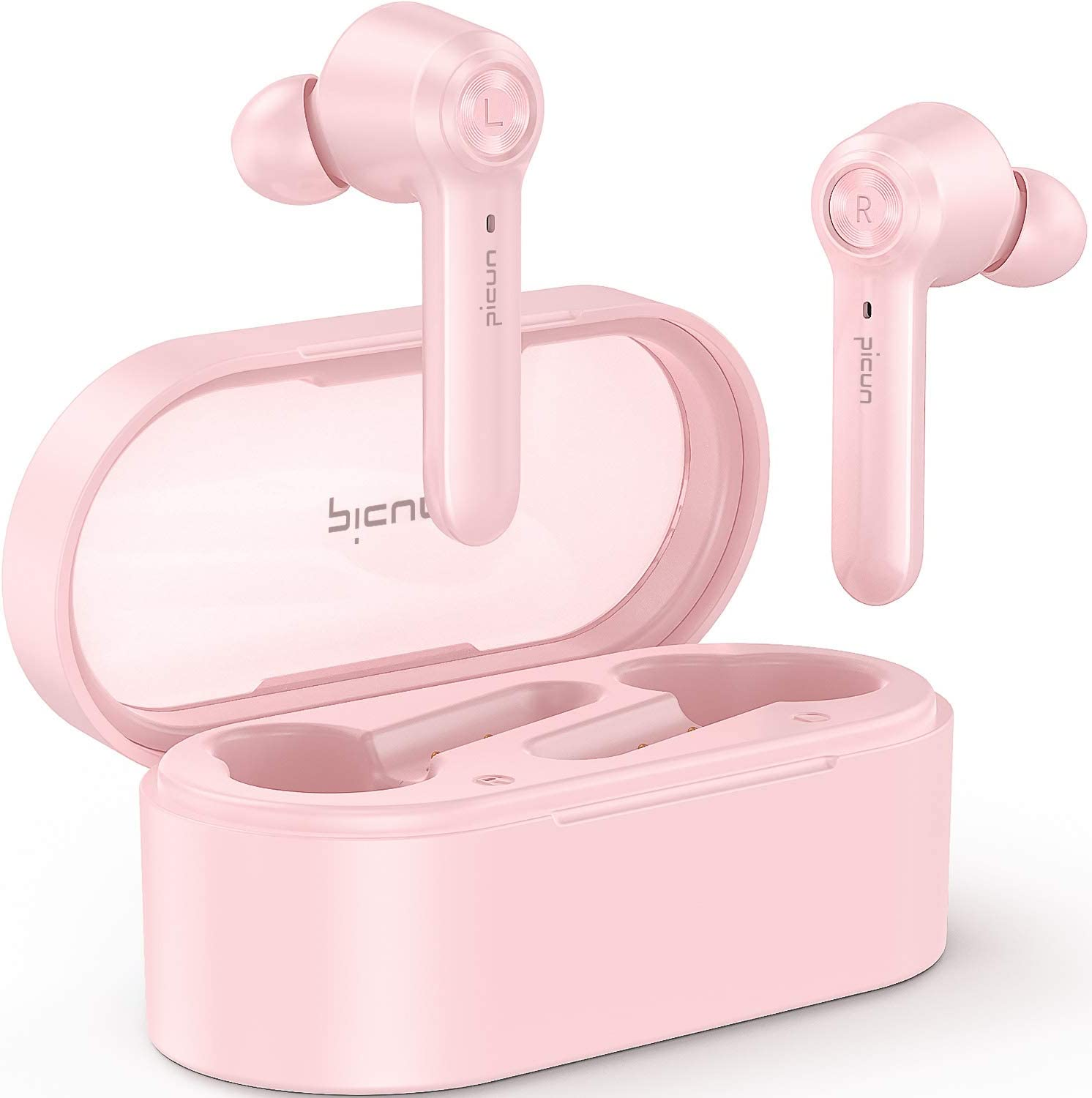 Picun W20 Pink Wireless Headphones In-Ear, Bluetooth V5.0+EDR 36 Hrs Playtime HiFi Immersive Bass IPX8 Waterproof Earbuds w/Mic, Hall Switch, Touch Control, Single/Twin Mode, USB-C, Fit for Women Girl