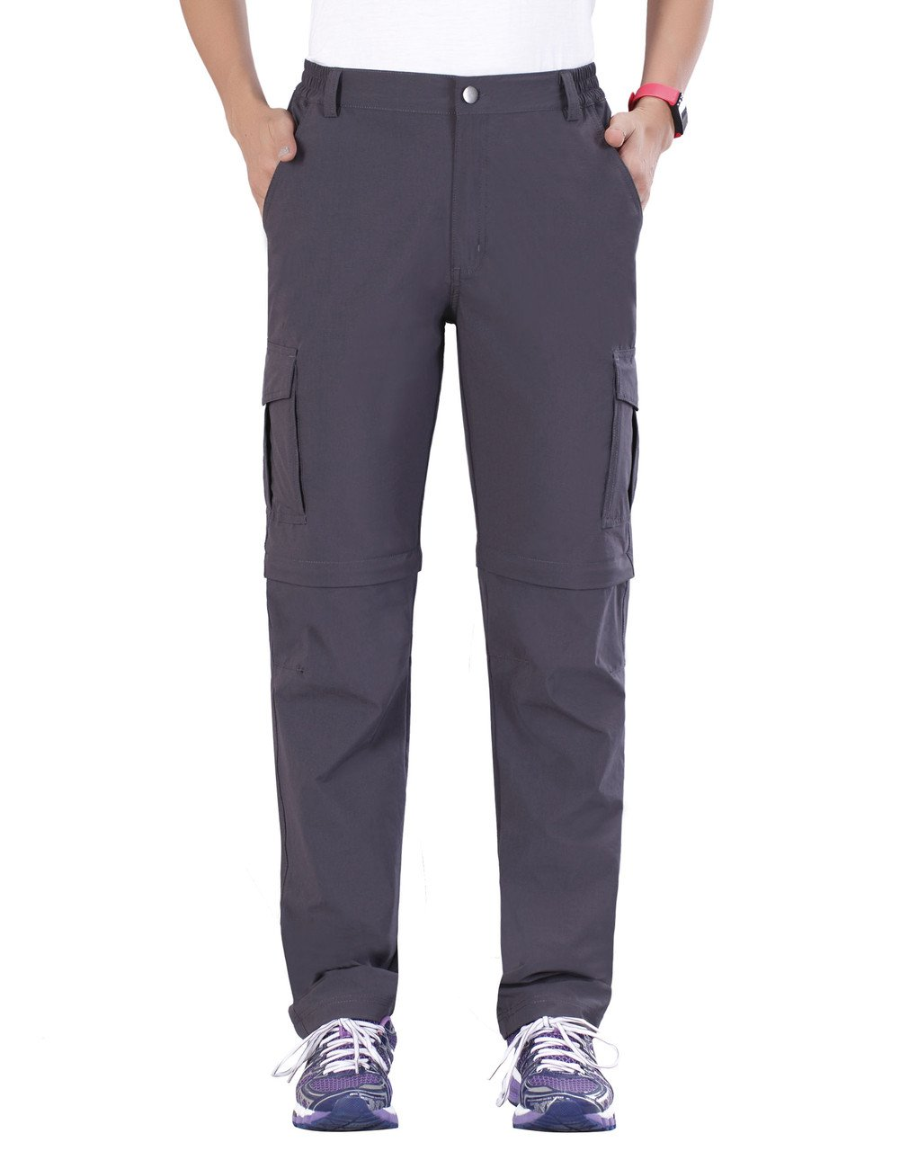 Nonwe Women's Outdoor Quick Dry Convertible Cargo Camping Pants Gray L/32 Inseam