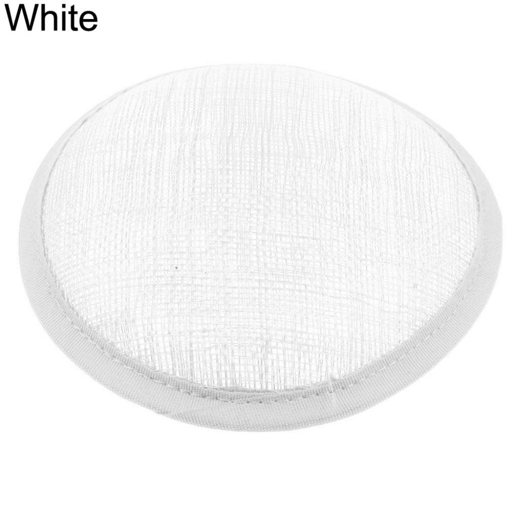 HEART SPEAKER Women Sinamay Cocktail Hat Fascinator Round Base Millinery DIY Craft Accessory (White)