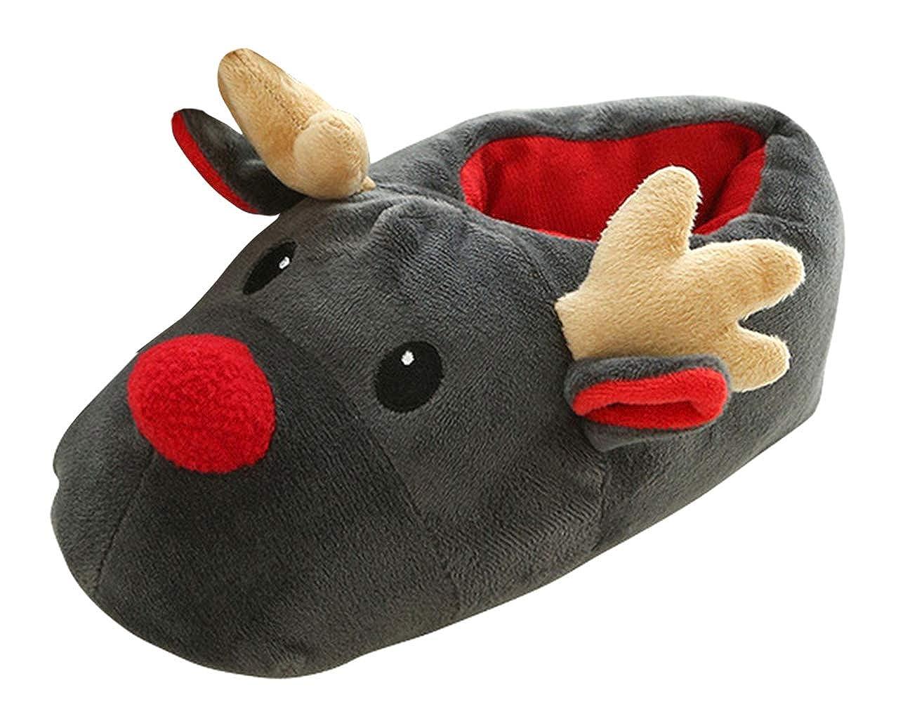 Cloud Kids Plüsch-Pantoffeln Weihnachts Hausschuhe warm Rentier ...