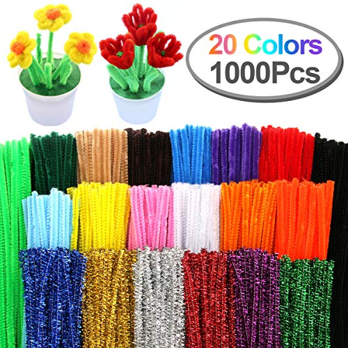 Pipe Cleaners, Pack of 1000 Pieces Jumbo Pipe Cleaners Crafting DIY Projects Pipe Cleaners Bulk 20 Colors Bundle Bling-Bling/Matte Colors Available Ideal for School Projects & ()