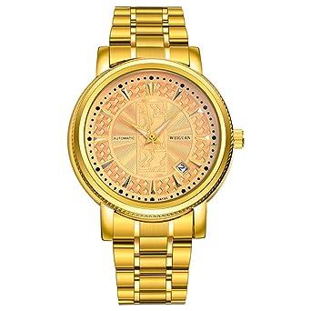 Weiguan para hombre automático luminoso mecánico oro reloj de pulsera con chapado en oro acero inoxidable: Amazon.es: Relojes