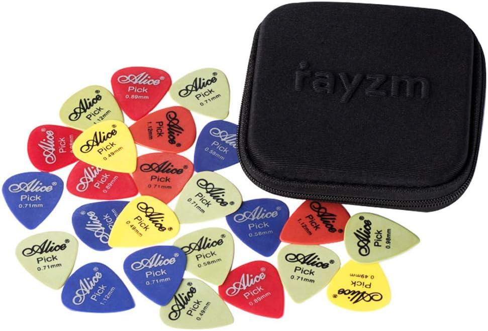 Rayzm Púas Pick Plectrums para guitarra 50 uds, variada selección de picks de resina acetálica (POM) para guitarra/bajo de varios colores y 6 grosores 0,49/0,58/0,71/0,89/0,98/1,12mm