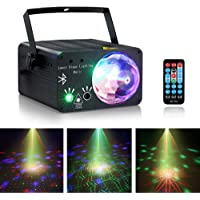 LED Stage Laser Lights, Rotatry Magic ball DJ Music Show 108 Patterns Projector Indoor outdoor 3 Lens 3 Color RGB decoration light, Red Green Sound Activated Stage lighting for House Party Xmas with Remote Control,Bluetooth,SD,USB,Black