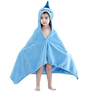 MICHLEY Baby Hooded Animal Bath Towels Ultra Soft Large Swimming Beach Bathrobe, Perfect Shower Gifts for Toddlers 0-5T (Shark)