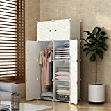 MAGINELS Magicial Panels Wardrobe Portable Closet for Bedroom Clothes Armoire Dresser MultiFuncation Cube Storage Organizer, 5 Cubes & 1 Hanging Section, Wood Grain Pattern
