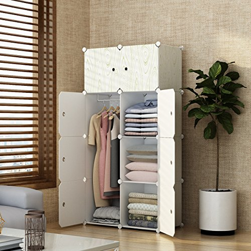 - MAGINELS Closet Shelves Wardrobe Clothes Organizer Cube Storage Armoire Cabinet Dresser for Bedroom Portable Wood Grain 5 Cube & 1 Hanging Section