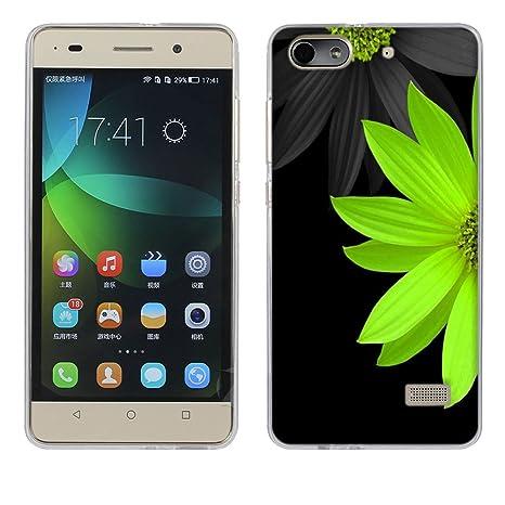 FUBAODA Funda Huawei Honor 4C, [crisantemo Verde] Silicona Fundas para Honor 4C (G Play Mini) Carcasa 4C (G Play Mini) Silicona Funda Case