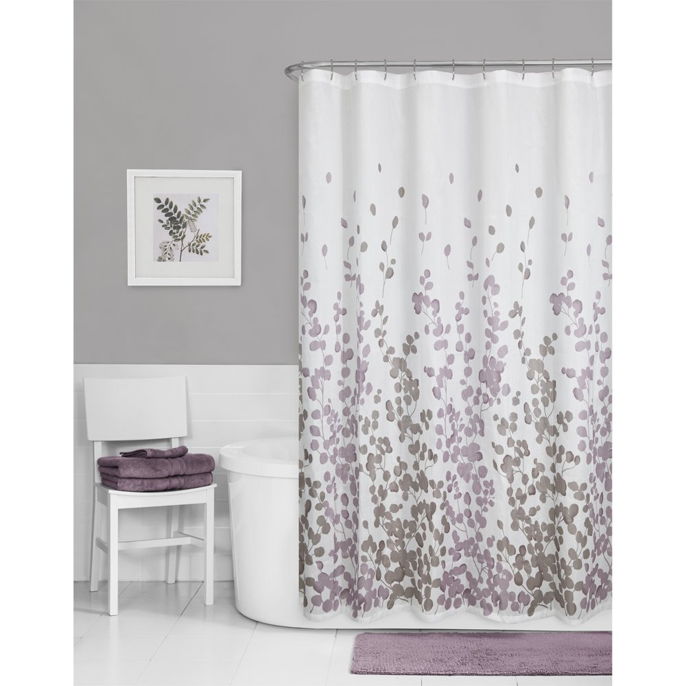 White fabric shower curtain - Maytex Sylvia Printed Faux Silk Fabric Shower Curtain Purple