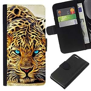EJOY---La carpeta del tirón la caja de cuero de alta calidad de la PU Caso protector / Apple Iphone 5C / --Animales de África Predator Ojos