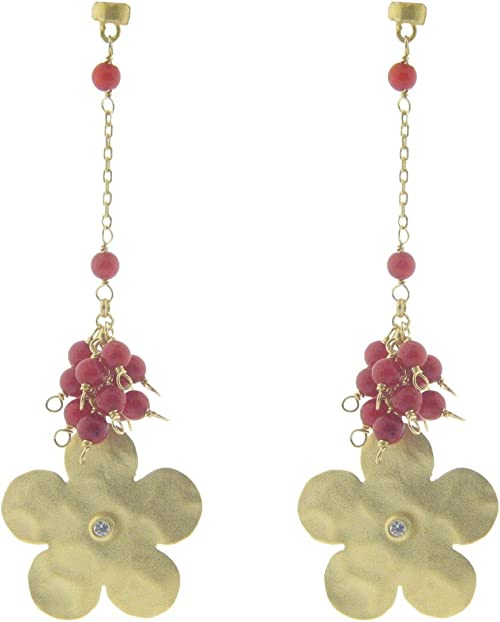 FRONAY 18k Gold Plated Flower Earrings Dangle Simulated Coral
