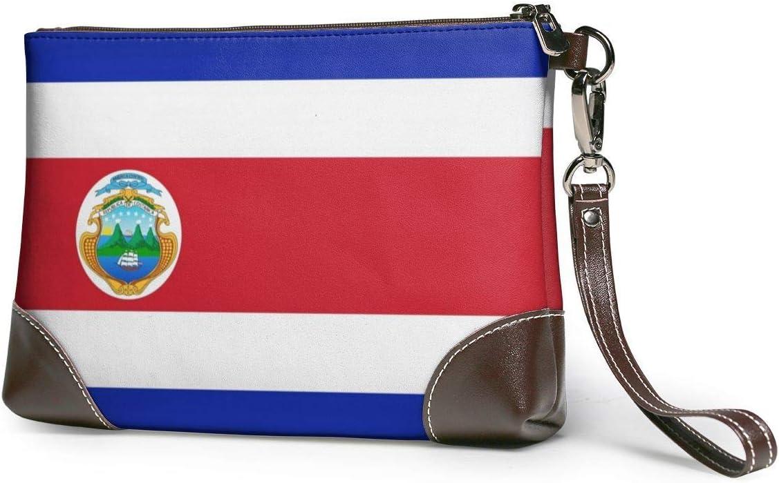 BFDX Costa Rica Flag Leather Wristlet Clutch Monederos Bolso Crossbody Clutch Wallet Bolsos para Mujeres
