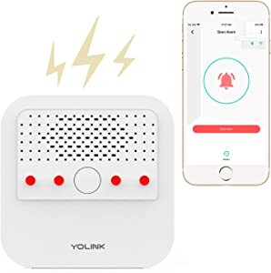 Siren Alarm, YoLink 1/4 Mile World's Longest Range Smart Siren Alarm Work with Alexa Google Assistant IFTTT, Smartphone Remote Control Smart Home Security System, YoLink Hub Required