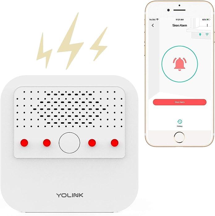 Siren Alarm, YoLink 1/4 Mile World's Longest Range Smart Siren Alarm Work with Alexa Google Assistant IFTTT, Smartphone Remote Control Smart Home Security System, YoLink Hub Required