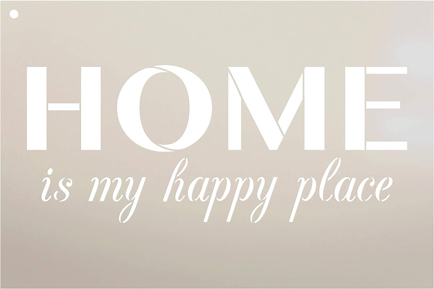 "Home is My Happy Place Stencil by StudioR12 | Reusable Mylar Template | Use to Paint Wood Signs - Front Porch - Pallets - New Home - DIY Home Welcome Decor - Select Size (12"" x 8"")"