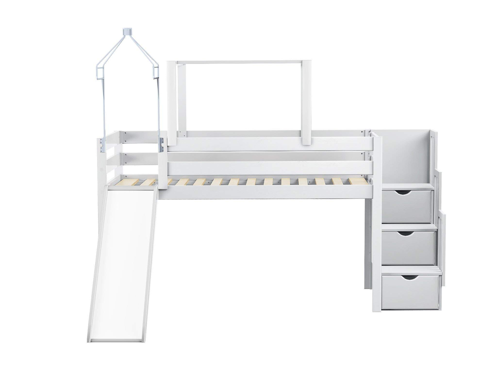 JACKPOT! Princess Low Loft Stairway Bed with Slide Pink Camo Tent and Tower, Loft Bed, Twin, White by JACKPOT!