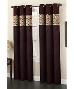 Homefab India Polyester Floral Eyelet Window Curtain (5 Feet, Brown)