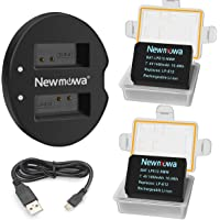 Newmowa LP-E12 Replacement Battery (2-Pack) and Dual USB Charger for Canon LP-E12 and Canon EOS M M2 M10 M50 M100 EOS 100D EOS Rebel SL1 EOS KISS X7 PowerShot SX70 HS